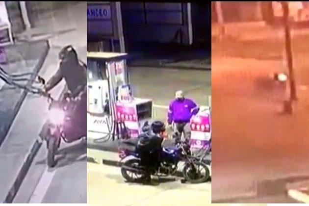 Mientras huye, delincuente cae al pavimento al intentar asaltar un grifo