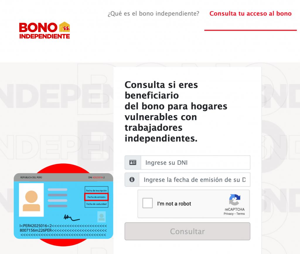 deberas de ingresar al sitio web www.bonoindependiente.pe