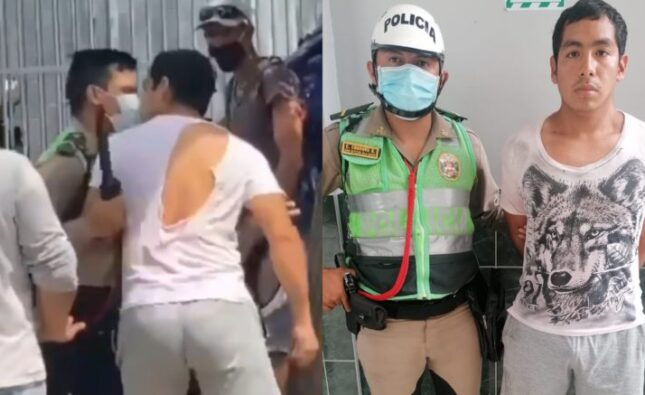 Joven atacó a un policía al detenerlo por no usar mascarilla